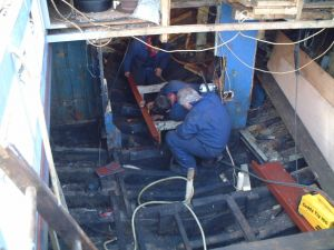 Scottish Trawler herring drifter engine beds going in
