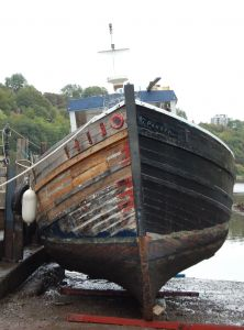 Wooden trawler Fifie Zulu MFV slipped for recaulking the hull