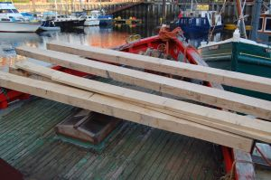 Oak beams for trawler conversion repairs