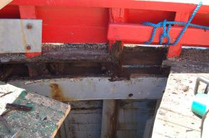 lodging knee and deck repairs to fishing boat conversion