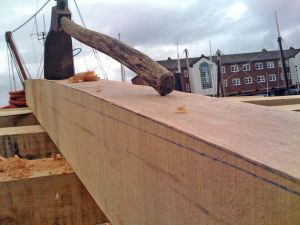replacement oak deck beam for a trawler conversion