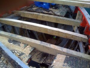 Motor Fifie Fishing boat conversion deck repairs