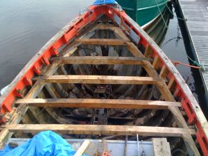 Wooden trawler conversion deck beam and knee repair