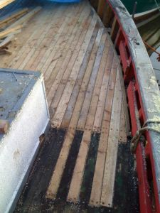 converted trawler wooden deck repair caulking seams