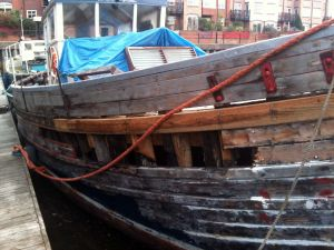 Wooden Hull plank repairs on Converted MFV Trawler Motor Fifie