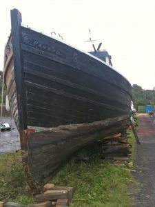 Scottish MFV Fifie slipped for recaulking and wooden boat repairs