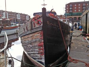 MFV trawler for sale repaired hull planks