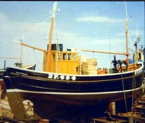 motor fifie zulu fishing boat on the slip in scotland