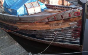 Larch Hull planking repairs on MFV conversion For Sale
