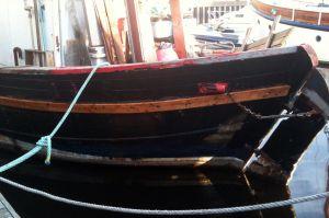 New wooden planking rubbing strake MFV Zulu herring drifter