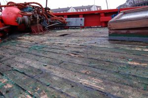 converted deck being stripped of old herring drifter